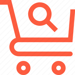 cart, goods, loupe, product, search, shopping, trolley icon