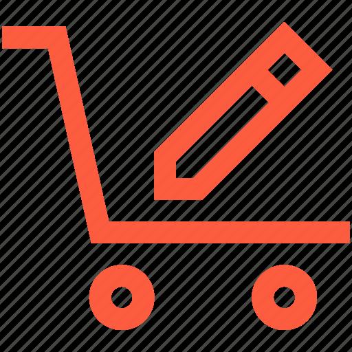 change, edit, pushcart, shop, shopping, trolley, wagon icon