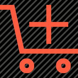 add, create, increase, new, shopping, trolley, wagon icon