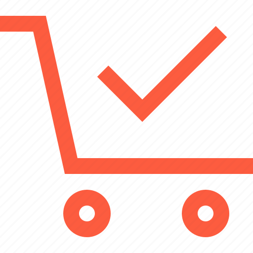 complete, done, ok, purchase, shopping, success, wagon icon