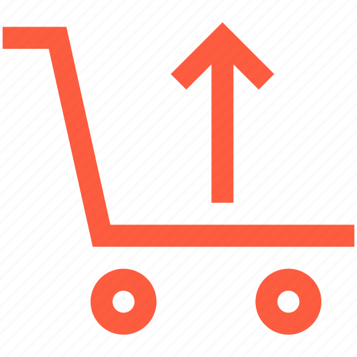 shopping, top, trolley, up, upload, wagon icon