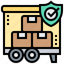cargo, insurance, protection, shield, truck icon