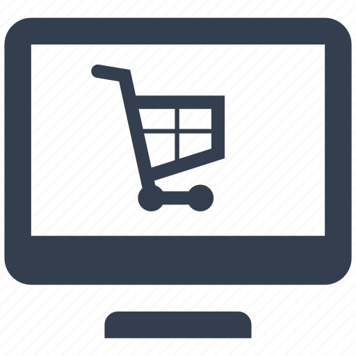 cart, computer, monitor, online, pc, push, retail, sale, shopping icon