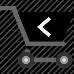 arrow, back, cart, left, shop icon