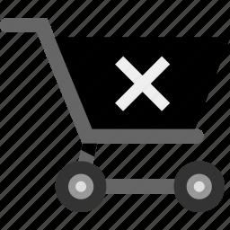 cart, delete, ecommerce, shopping, stop icon