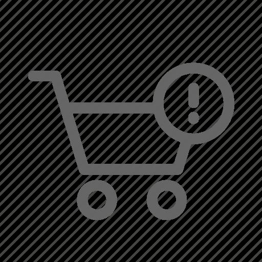alert, cart, error, shopping icon