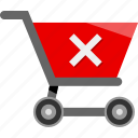 cart, cross, delete, ecommerce, shopping, stop icon