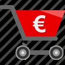 cart, ecommerce, euro, money, shopping icon