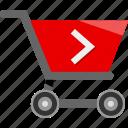 arrow, cart, ecommerce, go, shopping icon