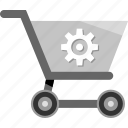 cart, ecommerce, gear, settings, shopping icon