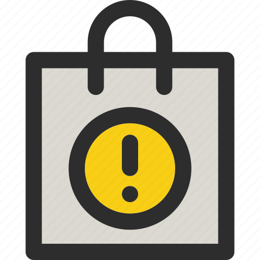 attention, bag, error, package, shopping, sign, warning icon