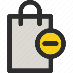 bag, cancel, from, minus, remove, shopping icon