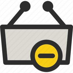 basket, cancel, delete, from, minus, remove, shop icon