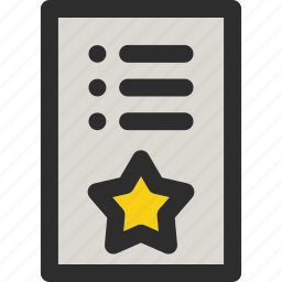 bookmark, document, favorite, list, paper, star, stared icon
