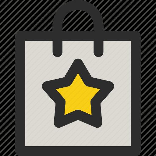 bag, basket, buy, favorite, shopping, star, starred icon