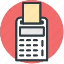 accounting, calculating device, calculator with receipt, digital calculator, finance icon