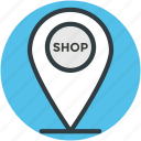 commercial location, map pointer, modern navigation, navigation, shop pointer icon