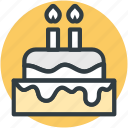 birthday cake, cake, candle cake, candles, celebration icon