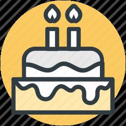 birthday cake, cake, candle cake, candles, celebration icon