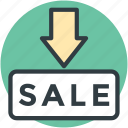 arrow pointing, commercial tag, label, sale, sale sticker icon