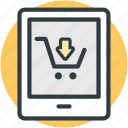 ecommerce, infographic element, online shopping, screen cart, smartphone icon