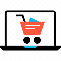 cart, cybermonday, ecommerce, laptop, online, shop, shopping icon