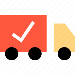 checkmark, ecommerce, online, shipping, shop, shopping, truck icon