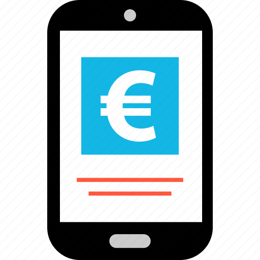 ecommerce, euro, mobile, online, shop, shopping, sign icon