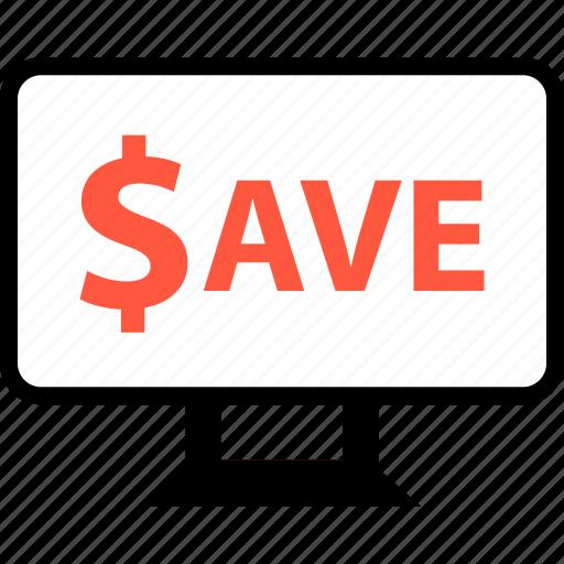 dollar, ecommerce, online, save, savings, shop, shopping icon