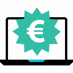 ecommerce, euro, laptop, online, shop, shopping, tag icon