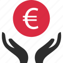 business, euro, hands, pay, sign icon