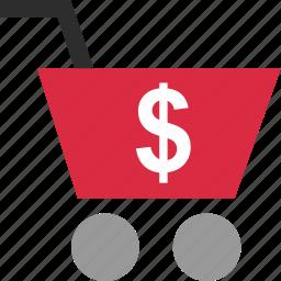 cart, dollar, ecommerce, money, shop, shopping, sign icon