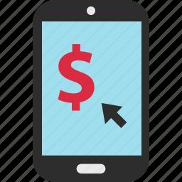 arrow, click, dollar, ecommerce, shop, shopping, sign icon