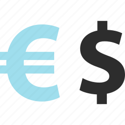 dollar, ecommerce, euro, pay, shop, shopping, sign icon