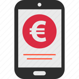 ecommerce, euro, mobile, pay, shop, shopping, sign icon