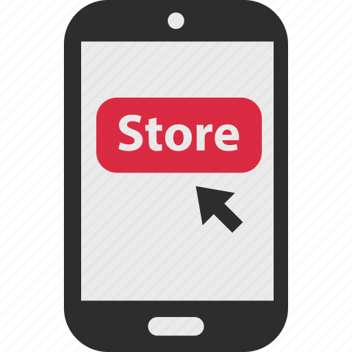 arrow, click, ecommerce, mobile, shop, shopping, store icon