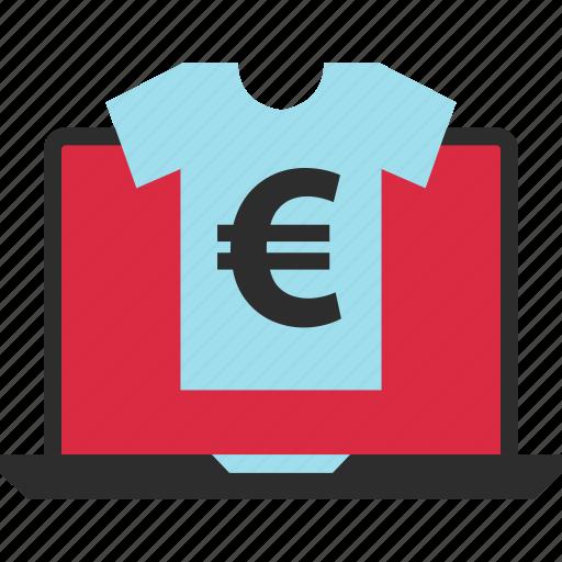 ecommerce, euro, laptop, pay, shop, shopping, tshirt icon