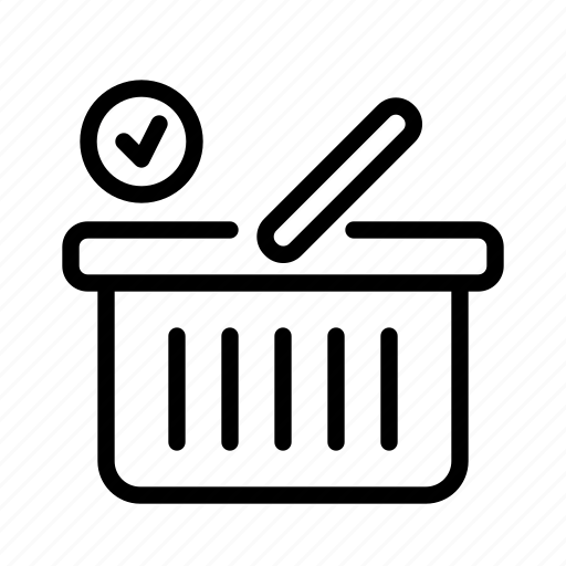 basket, check, e-commerce, sell, shoping, shopping icon