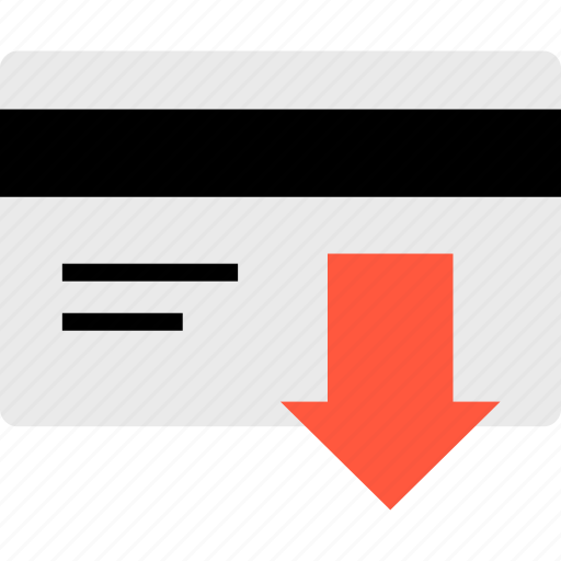 arrow, debit, down, ecommerce, online, shop, shopping icon
