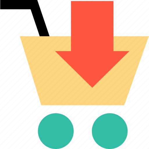 arrow, cart, down, ecommerce, online, shop, shopping icon