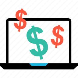 dollar, ecommerce, laptop, online, shop, shopping, signs icon