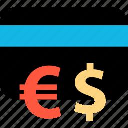 card, dollar, ecommerce, euro, online, shop, shopping icon