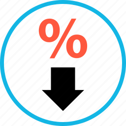 arrow, down, ecommerce, online, rate, shop, shopping icon