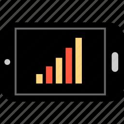 analytics, bars, data, graph, phone, report icon