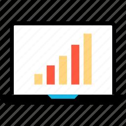 bars, data, ecommerce, laptop, shop, shopping icon