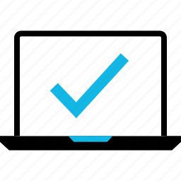 approved, check, good, laptop, mark, ok, online icon
