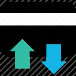activity, arrows, card, credit, debit, transactions icon