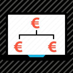 biz, business, ecommerce, euro, laptop, strategy icon