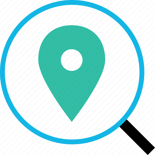 find, glass, gps, locate, location, magnifying, pin icon