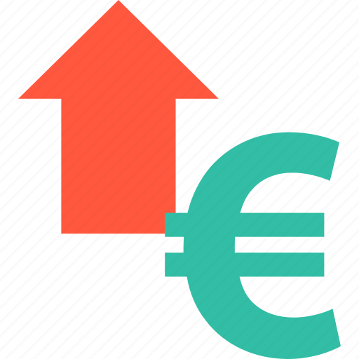 arrow, euro, high, point, sales, sign, up icon
